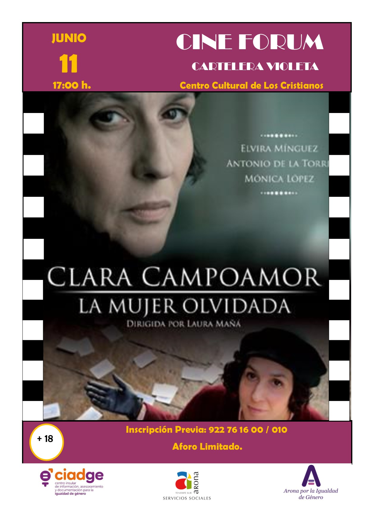 Arona partecipa al ciclo Cine Forum: Billboard-violet c ...